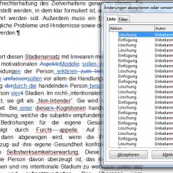 """Im Fenster """"Änderungen akzeptieren oder verwerfen"""" werden Sie systematisch durch das gesamte Dokument geführt."""