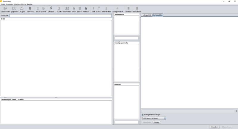 So sieht ein neuer, leerer Zettel aus.