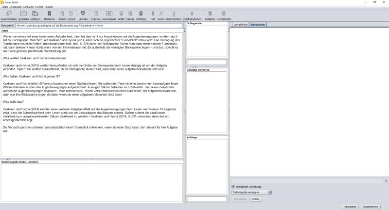 Ein Beispielzettel mit Überschrift und Inhalt.